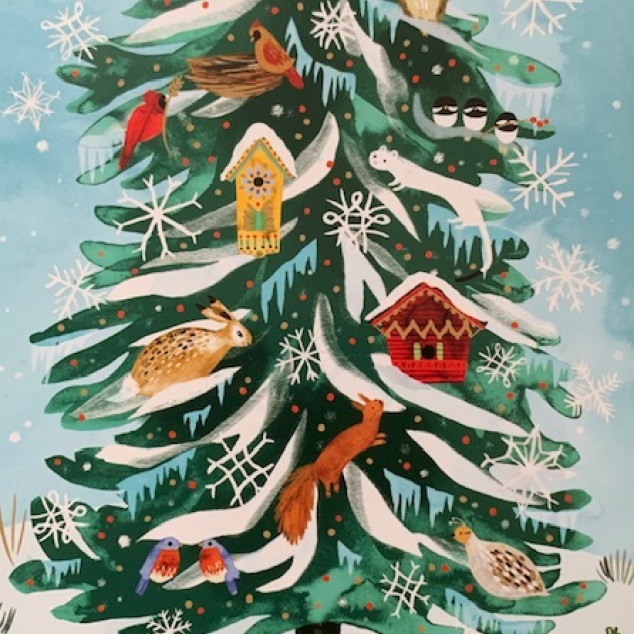 Christmas Cards Roger La Borde, Christmas Tree with Animals.