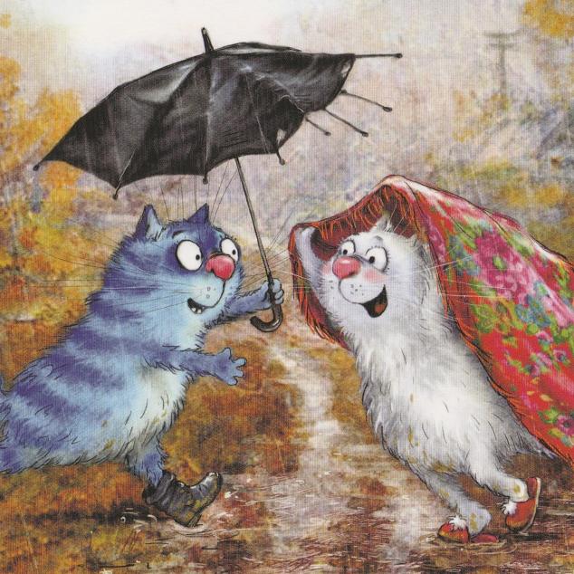 Ansichtkaart Blue Cat onder Paraplu.