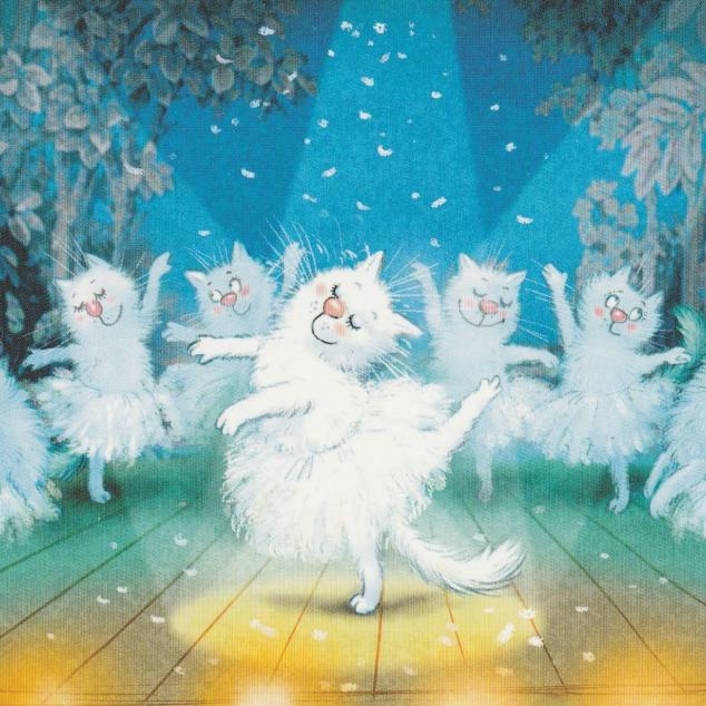 Ansichtkaart Blue Cats Poezen Ballet.