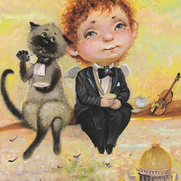 Ansichtkaart Thee met kat.