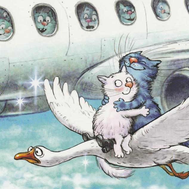 Ansichtkaart Blue Cat op een Gans.