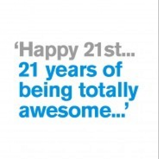 Wenskaart Happy 21st.