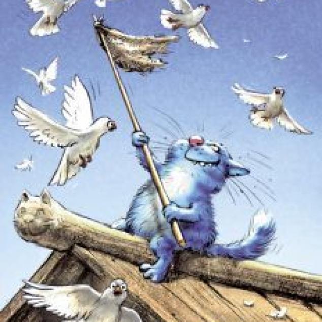 Ansichtkaart Blue Cat Vangt Duiven.