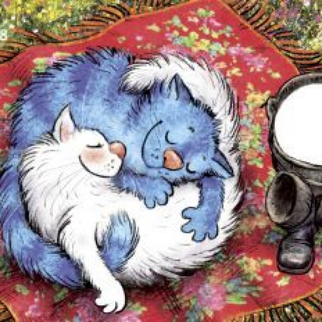 Ansichtkaart Blue Cat Ying en Yang.