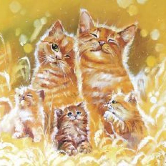 Ansichtkaart Katten Familie.