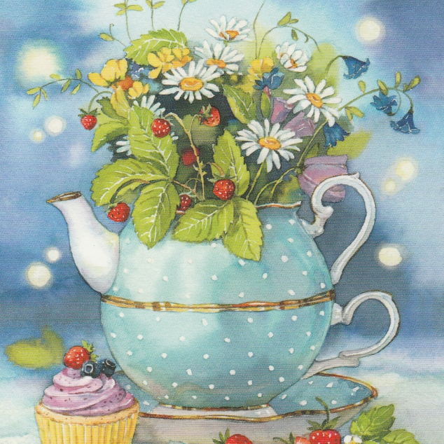Postcard Strawberry Teapot.