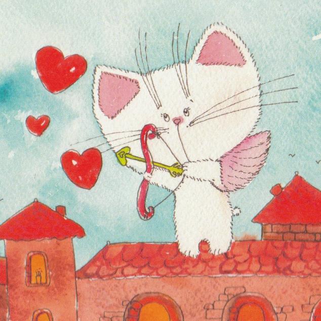 Ansichtkaart Cupido Kittekat.