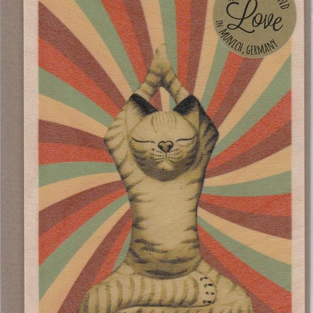 Houten Ansichtkaart met Envelop Yoga Kat.