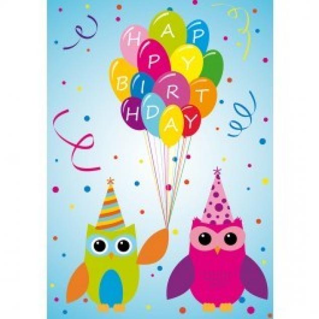 Ansichtkaart Happy Birthday Uilen en Balonnen.