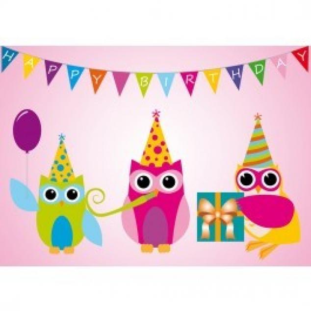 Ansichtkaart Happy Birthday Uilen en Slinger.