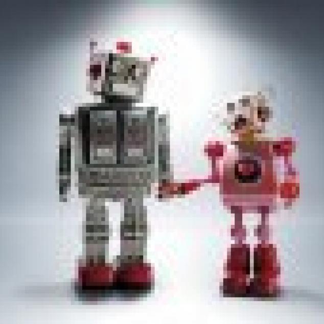 Ansichtkaart Robot liefde.