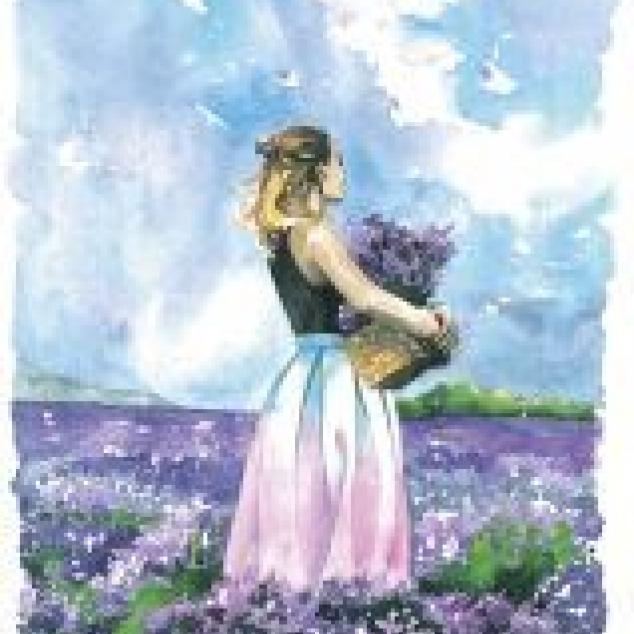 Ansichtkaart Lavendel veld.