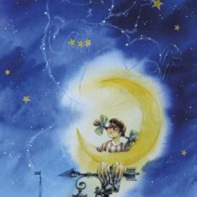 Ansichtkaart in het Maanlicht.