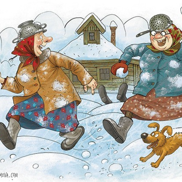 Ansichtkaart Gekke Oude Dames gooien Sneeuwballen.