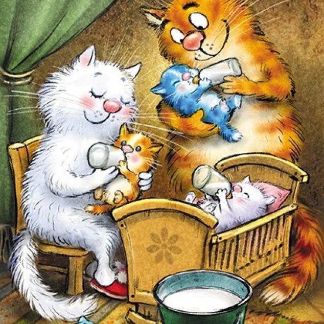 Ansichtkaart Blue Cat en een Nestje Kittens.