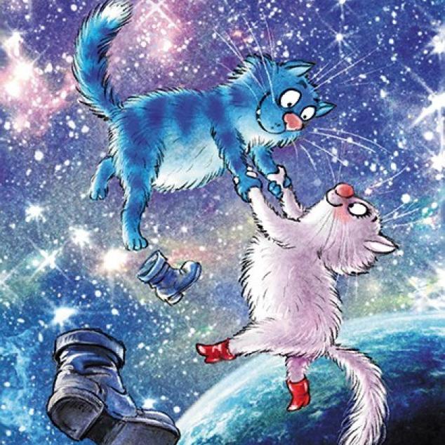 Ansichtkaart Blue Cat dansen in de ruimte.