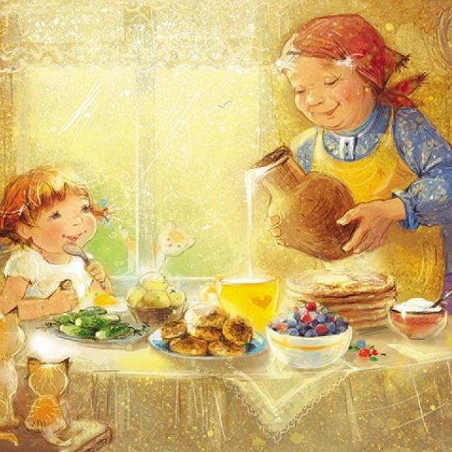Ansichtkaart Ontbijt met Oma.