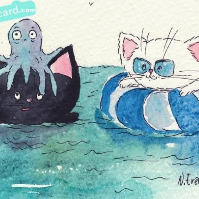 Ansichtkaart Kit en Kat aan het zwemmen.