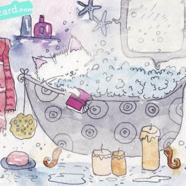 Ansichtkaart Kit in bad zonder Kat.