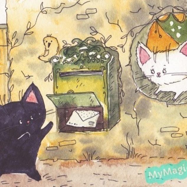 Ansichtkaart Kit en Kat hebben Post.