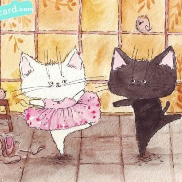 Ansichtkaart Kit en Kat doen aan Ballet.