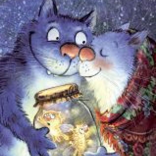 Ansichtkaart Blue Cat en de Vuurkatjes.