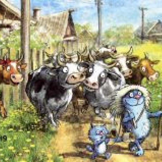 Ansichtkaart Blue Cat en een kudde koeien.