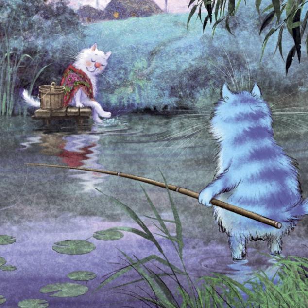 Ansichtkaart Blue Cat aan het Vissen.