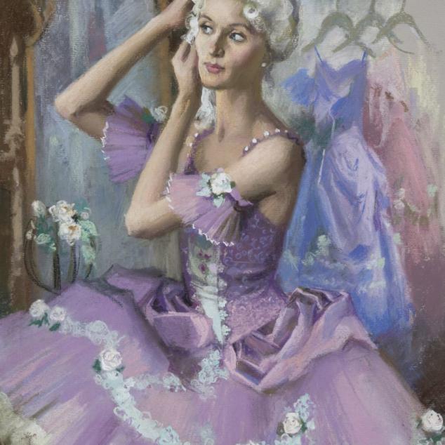 Ansichtkaart Ballet in een roze TuTu.