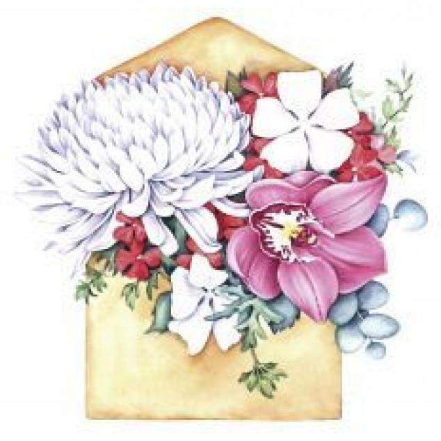 Ansichtkaart Bloemen in een Envelop.
