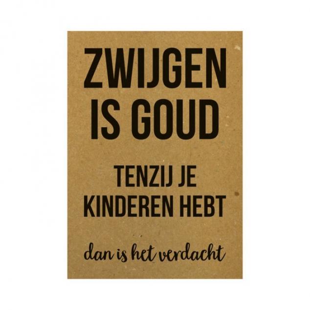 Ansichtkaart, Zwijgen is Goud....