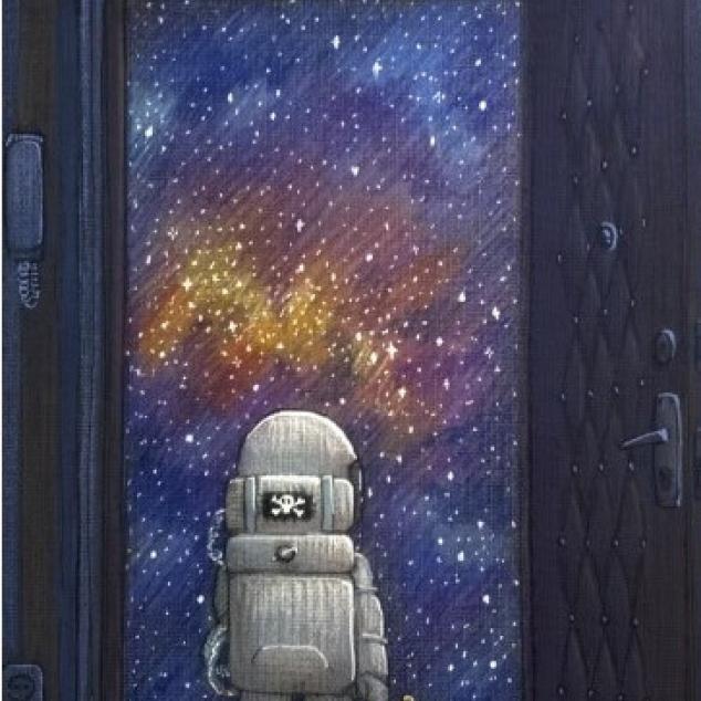 Ansichtkaart In een Astronautenpak.