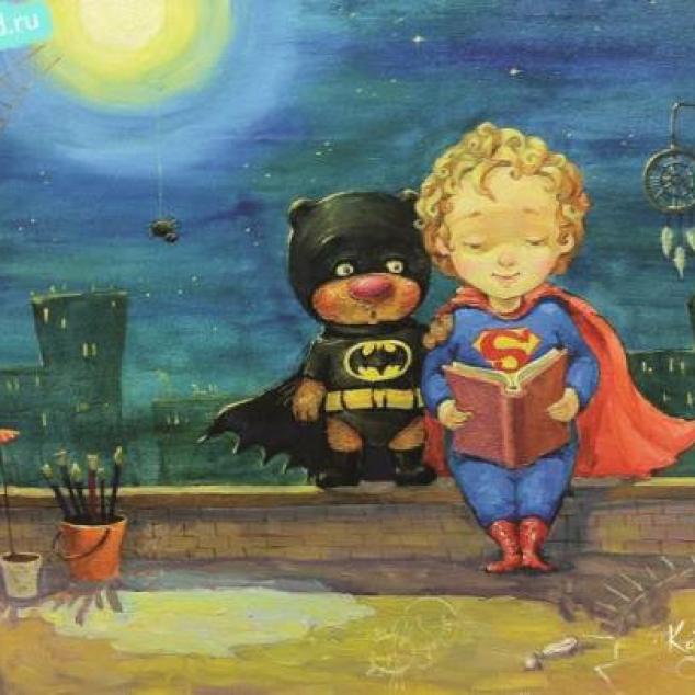 Ansichtkaart Badman & Superman.