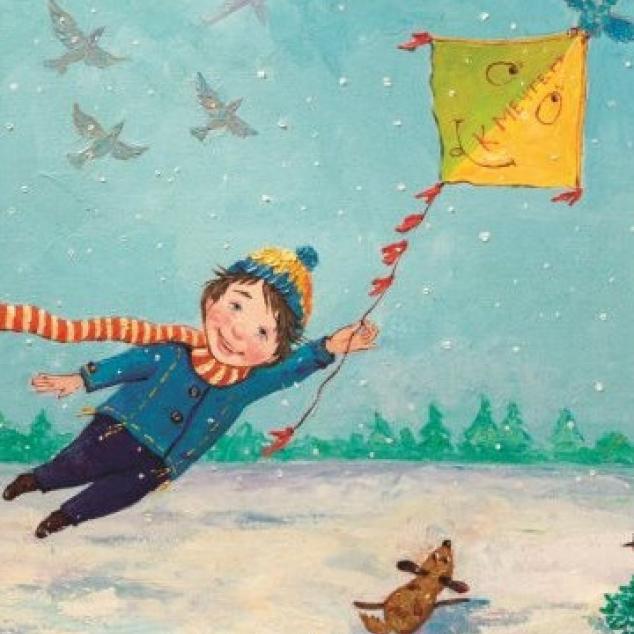 Ansichtkaart Hangend aan mijn Vlieger.