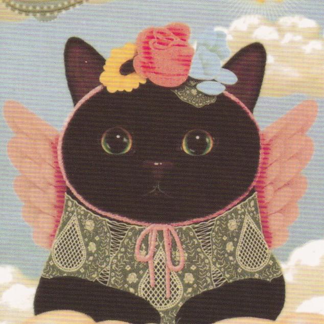 Ansichtkaart Jetoy - Zwarte Kat met Vleugels.
