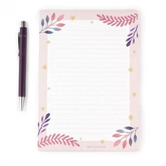 Schrijfblok Roze met Blaadjes, 1-zijdig.