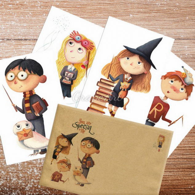 Ansichtkaarten Harry Potter, set van 4 (collecters item)
