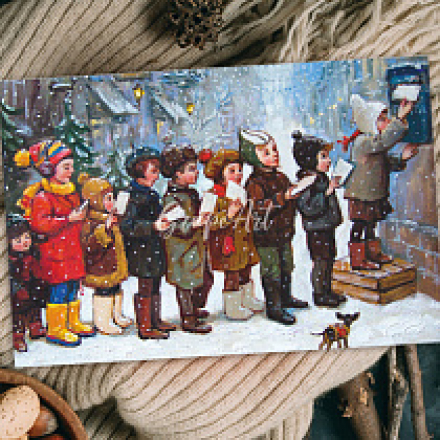 Ansichtkaart Briefje Posten voor Kerst.