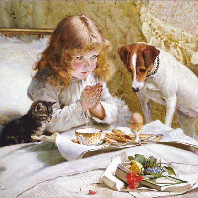 Ansichtkaart Een Gebedje voor het ontbijt.