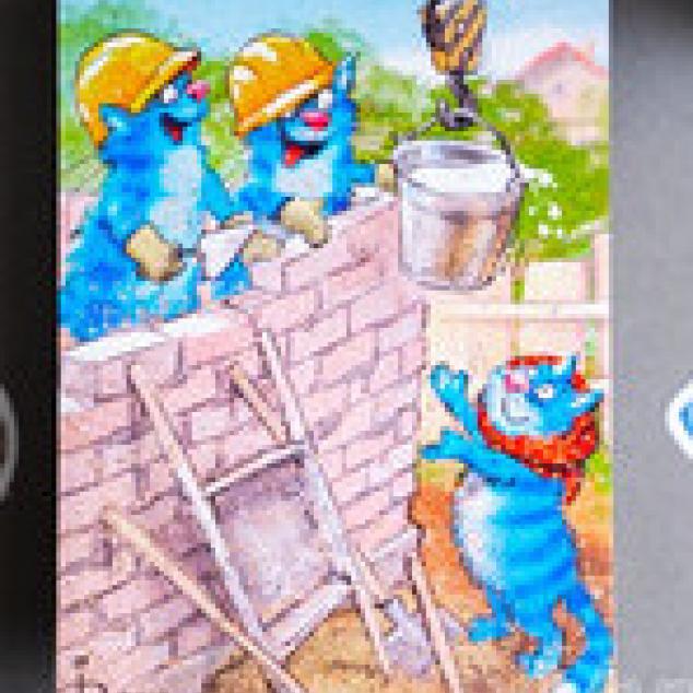 Ansichtkaart, mevrouw Blue Cat helpt de Bouwvakkers.