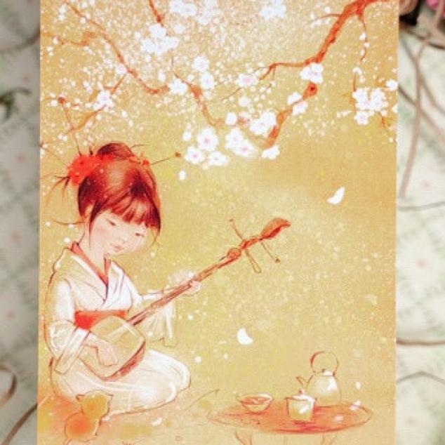 Ansichtkaart, Japans Tafereeltje.