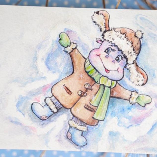 Ansichtkaart, Sneeuw Engel.
