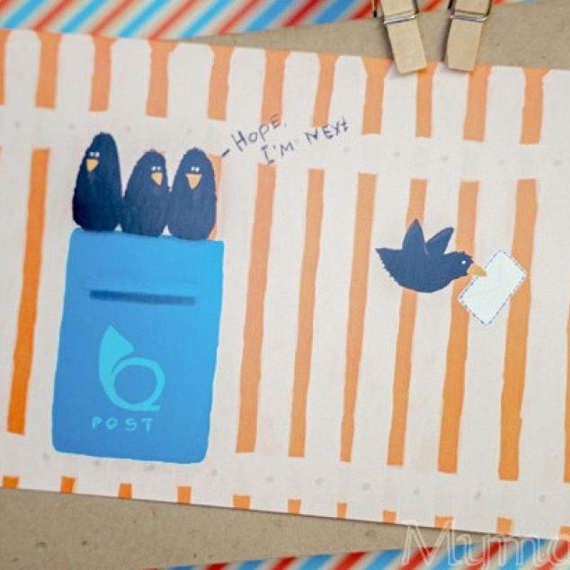 Ansichtkaart, PostCross Vogeltjes.
