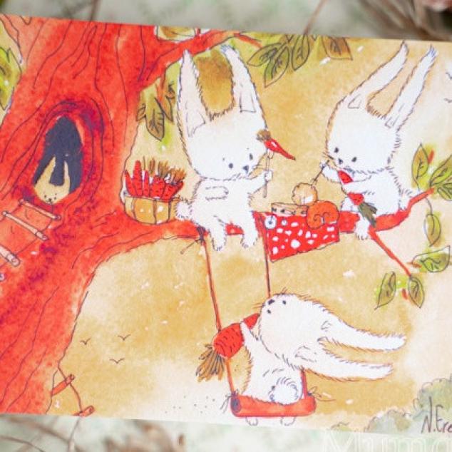 Ansichtkaart, Boom Picknick met Konijnen.