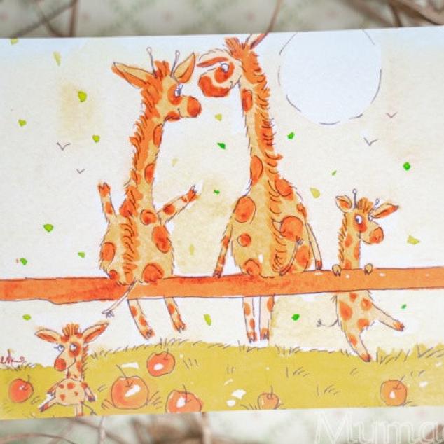 Ansichtkaart, Giraffen op een Hekje.