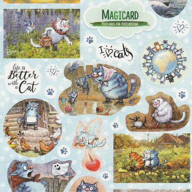 Stickervel Blue Cat 1 (24 stickers op vel).