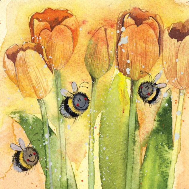 Wenskaart de Bijen en de Tulpen.