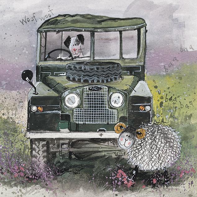 Wenskaart Doggie in een Jeep.