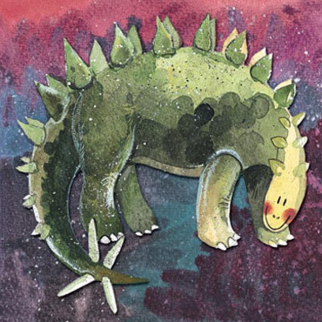 Wenskaart Stegosaurus.