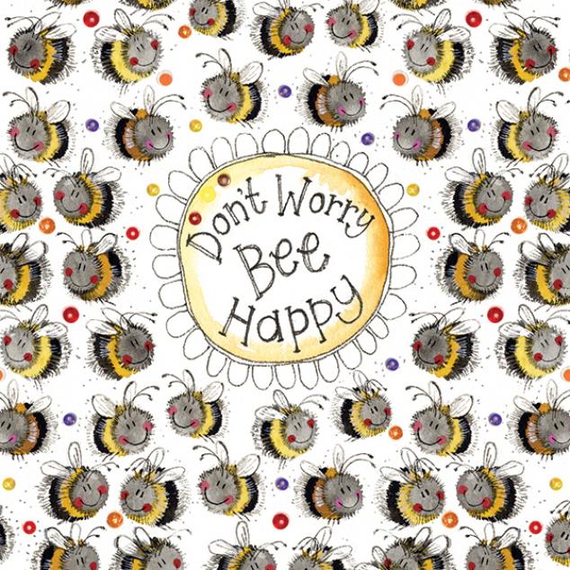 Wenskaart Don't Worry Bee Happy.